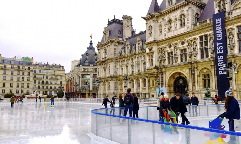 Skating by the Townhall, Paris, France.